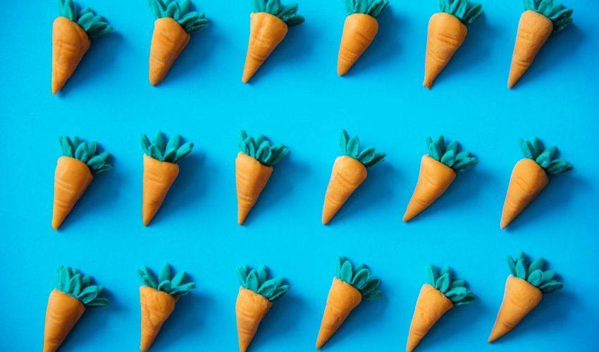 Karotten aus Marzipan auf blauem Hintergrund
